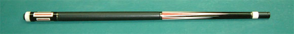 Ebony cue. 6-point of White recut into pink ivory point, Pink Ivory into White squea